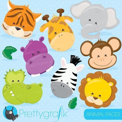 Jungle animal faces clipart
