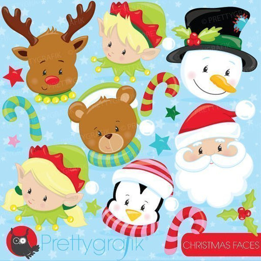 Christmas faces clipart  Prettygrafik    Mygrafico