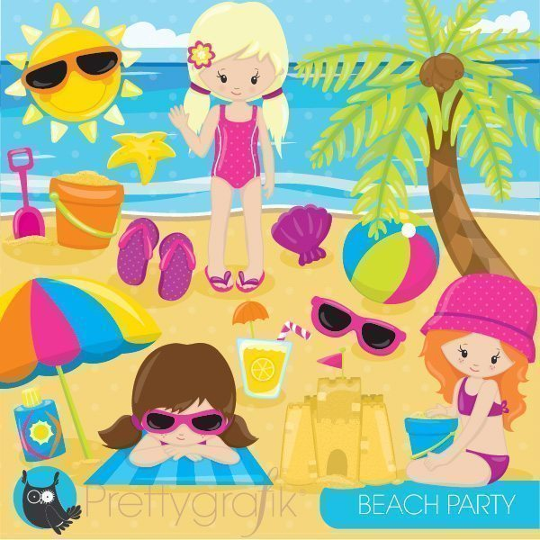 beach party girl clipart  Prettygrafik    Mygrafico