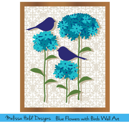 Blue Flowers with Birds Wall Art Digital Paper & Backgrounds Melissa Held Designs    Mygrafico