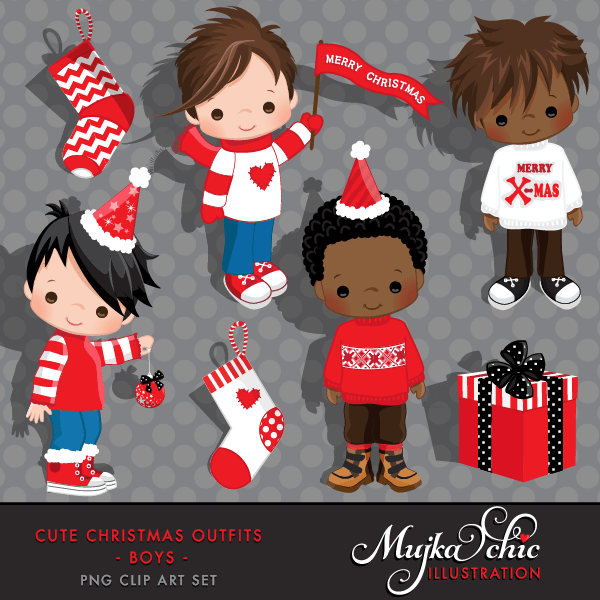 Cute Christmas Outfits for Boys Clipart Instant Download Christmas Graphics  Mujka Chic    Mygrafico