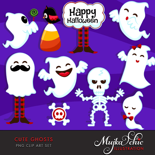 Halloween Cute Ghosts Clipart  Mujka Chic    Mygrafico
