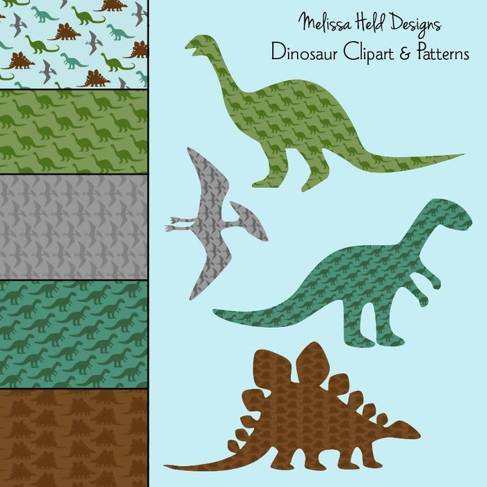 Dinosaur Clipart and Patterns Clipart & Digital Paper Melissa Held Designs    Mygrafico