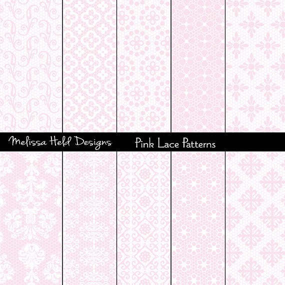 Pink Lace Patterns Digital Paper & Backgrounds Melissa Held Designs    Mygrafico