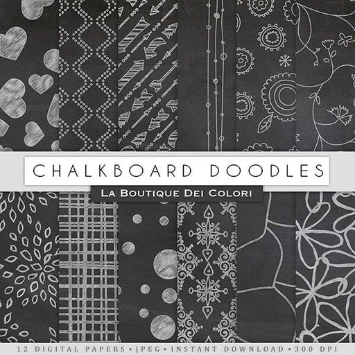 Chalkboard Doodles Digital Papers  La Boutique Dei Colori    Mygrafico