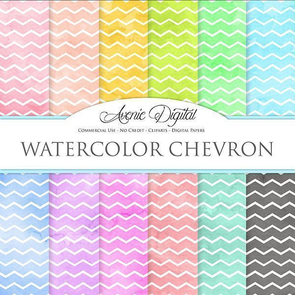 Watercolor Chevron Digital Paper  Avenie Digital    Mygrafico