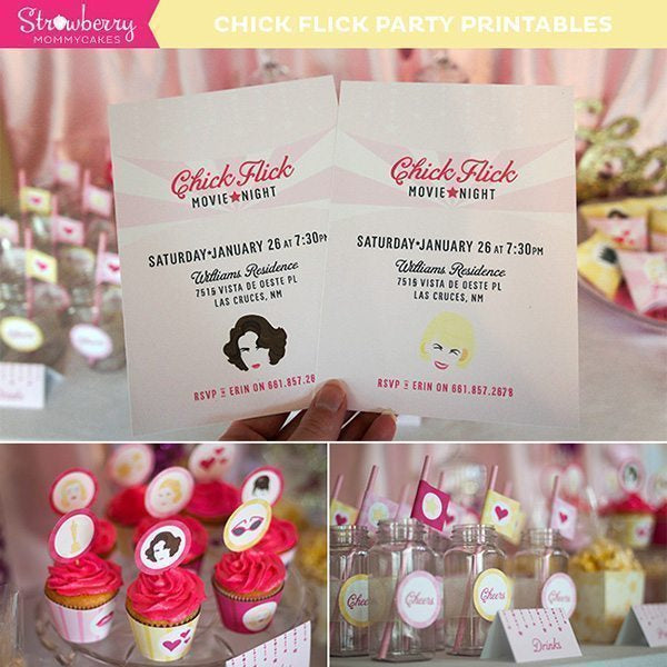 Chick Flick Party Printables Party Printable Templates Strawberry Mommycakes    Mygrafico