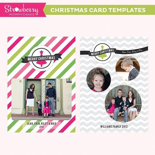 5 Modern Christmas Photo Card Templates Party Printable Templates Strawberry Mommycakes    Mygrafico