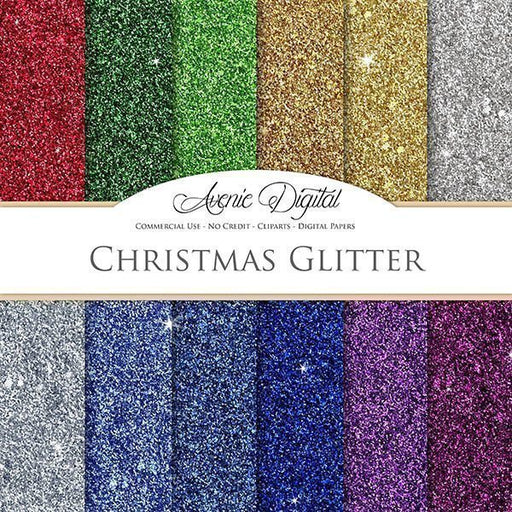 Christmas Glitter Digital Paper  Avenie Digital    Mygrafico