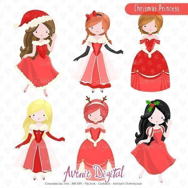 Christmas Princess Clipart.  Avenie Digital    Mygrafico