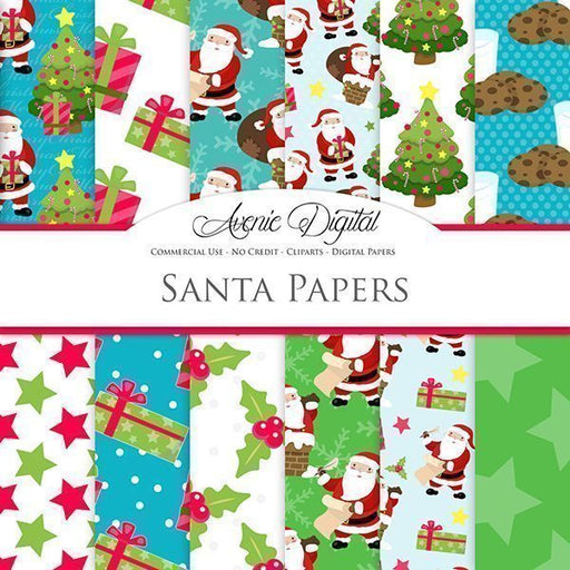 Christmas Santa Digital Papers  Avenie Digital    Mygrafico
