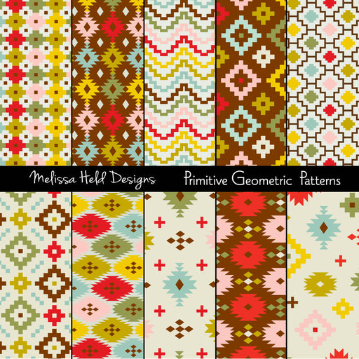 Primitive Geometric Patterns Digital Paper & Backgrounds Melissa Held Designs    Mygrafico