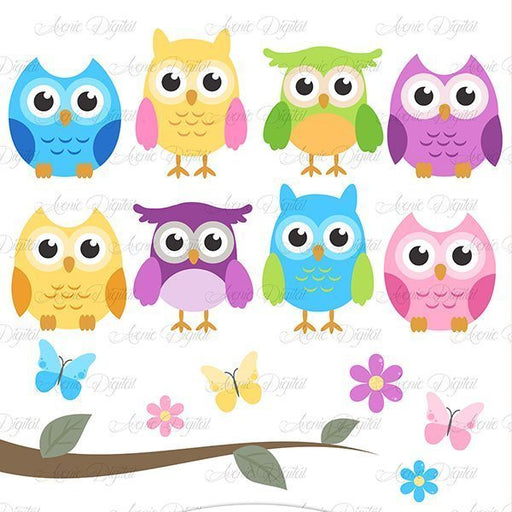 Cute Colorful Owl Clipart  Avenie Digital    Mygrafico