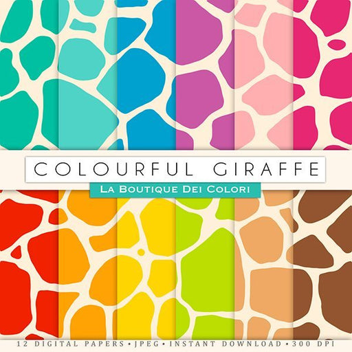 Colorful Giraffe Digital Papers  La Boutique Dei Colori    Mygrafico