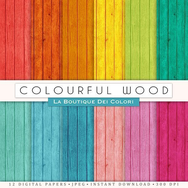 Colorful Wood Digital Papers  La Boutique Dei Colori    Mygrafico