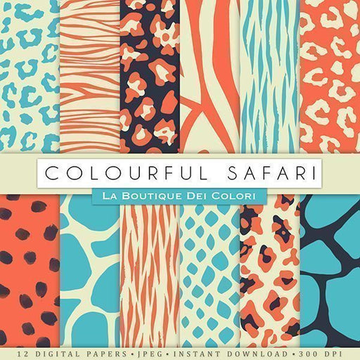 Colorful Animal Print Digital Papers  La Boutique Dei Colori    Mygrafico