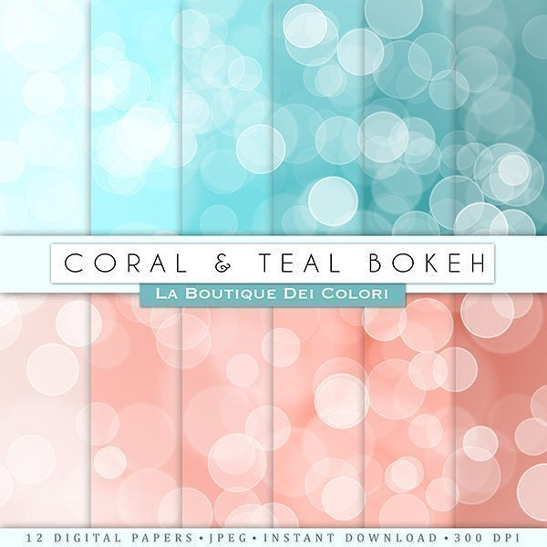 Coral & Teal Bokeh Digital Papers  La Boutique Dei Colori    Mygrafico