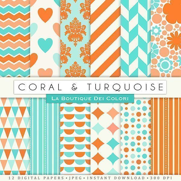 Coral & Turquoise Digital Papers  La Boutique Dei Colori    Mygrafico
