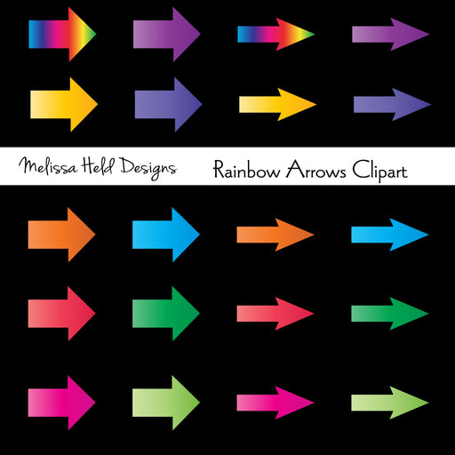 Rainbow Arrows Clipart Digital Paper & Backgrounds Melissa Held Designs    Mygrafico