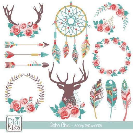 Boho Chic Clipart, Rustic Wedding Clip Art, Tribal Vector Graphics - Ethnic Graphics - Hippie Style Vector EPS - Instant Download Cliparts DigiKika    Mygrafico
