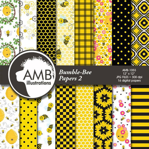 Bumble Bee Digital Papers, Honeybee Digital Patterns, Bee Papers, Insects, Hive, Honeycomb scrapbook paper, AMB-1055 Digital Paper & Backgrounds AMBillustrations    Mygrafico