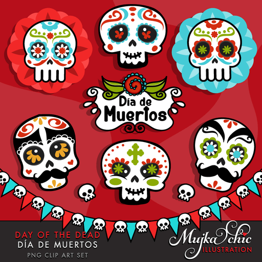 Day of the dead Sugar Skulls Clipart  Mujka Chic    Mygrafico