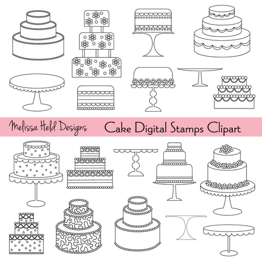 Cakes Digital Stamps Clipart