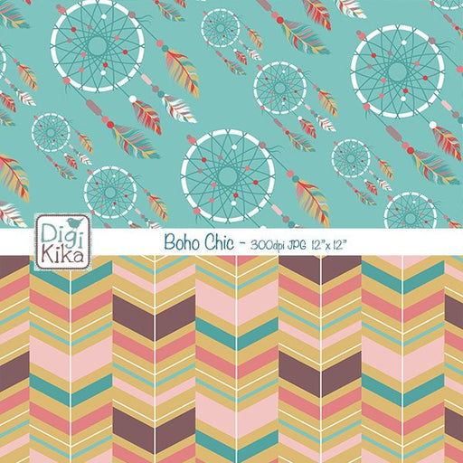 Boho Chic Digital Papers Digital Papers & Backgrounds Kika Digital    Mygrafico