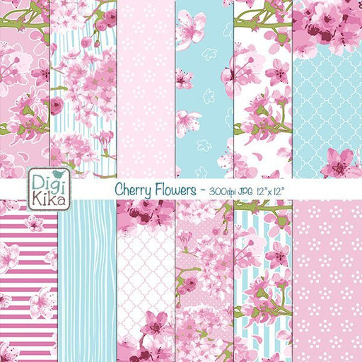 Cherry Flowers Digital Papers  Kika Digital    Mygrafico