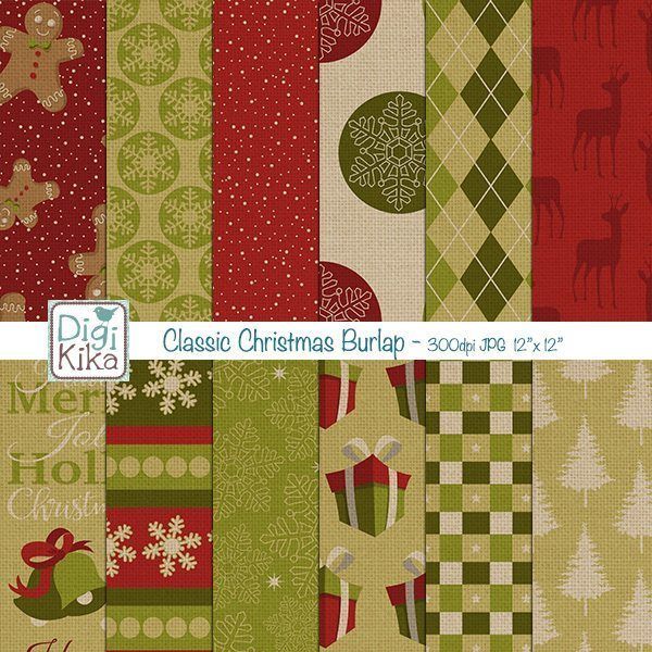 Christmas Gingerbread Burlap Papers  Kika Digital    Mygrafico