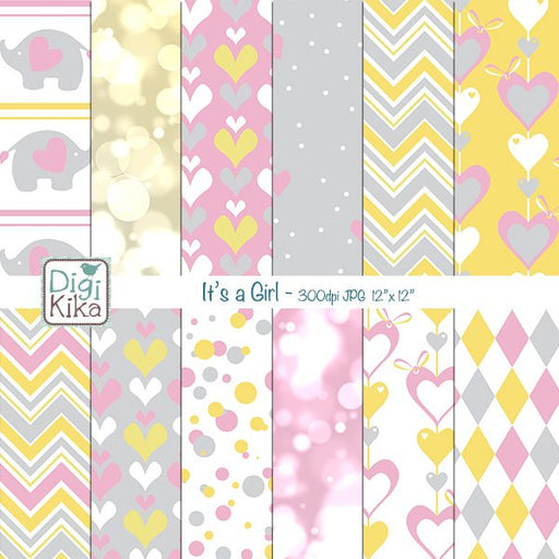 It´s a Girl Digital Papers Digital Papers & Backgrounds Kika Digital    Mygrafico