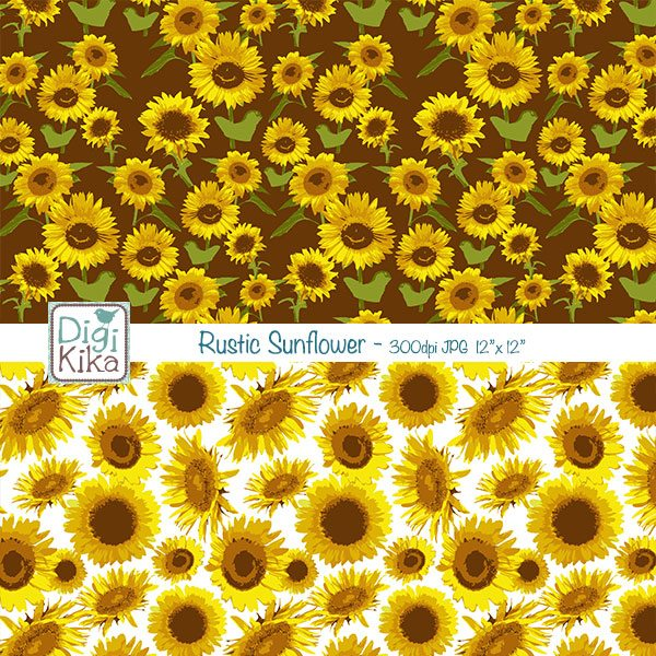 Sunflowers Digital Papers Digital Papers & Backgrounds Kika Digital    Mygrafico
