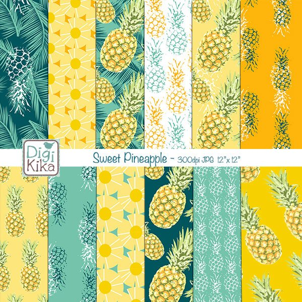 Sweet Pineapple Digital Papers Digital Papers & Backgrounds Kika Digital    Mygrafico
