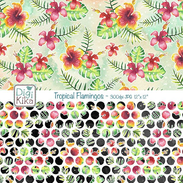 Watercolor Tropical Flamingos Digital Papers Digital Papers & Backgrounds Kika Digital    Mygrafico
