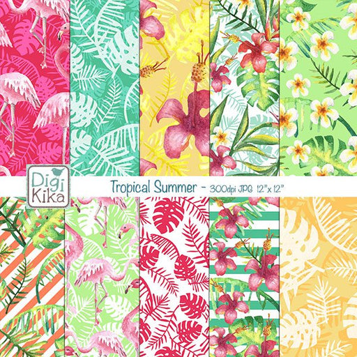 Tropical Summer Digital Papers Digital Papers & Backgrounds Kika Digital    Mygrafico