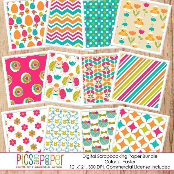 Colorful Easter Digital Papers Digital Papers & Backgrounds Pics and Paper    Mygrafico