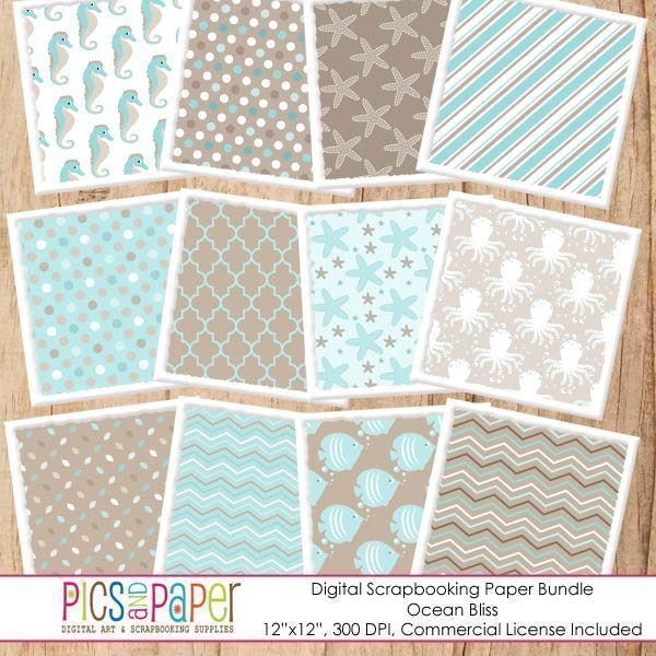 Ocean Bliss Digital Papers Digital Papers & Backgrounds Pics and Paper    Mygrafico