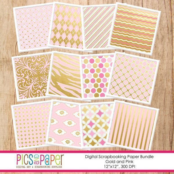 Gold and Pink Papers  Pics and Paper    Mygrafico