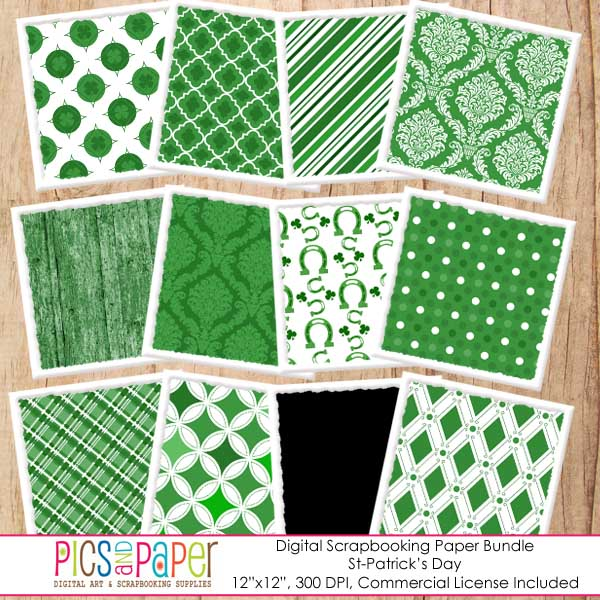 St-Patrick's Day Digital Papers Digital Papers & Backgrounds Pics and Paper    Mygrafico