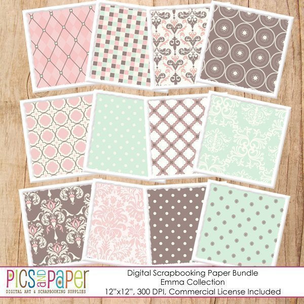 Pink and mint papers Digital Papers & Background Pics and Paper    Mygrafico
