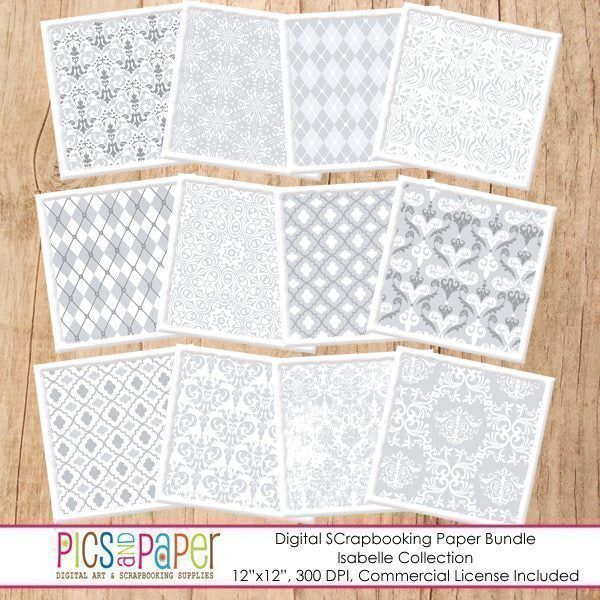 Gray/Silver Damask Digital Papers Digital Papers & Background Pics and Paper    Mygrafico