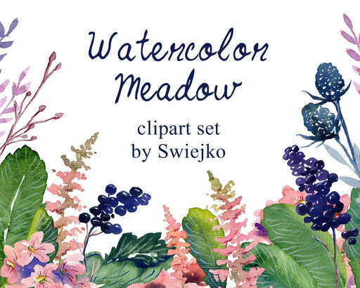 Digital Watercolor Flowers, hand painted floral clipart, cottage garden (24) Cliparts Swiejko    Mygrafico