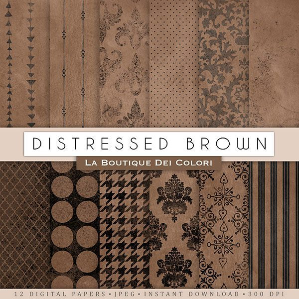 Distressed Brown Digital Papers  La Boutique Dei Colori    Mygrafico