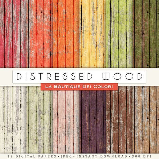 Distressed Wood Digital Papers  La Boutique Dei Colori    Mygrafico