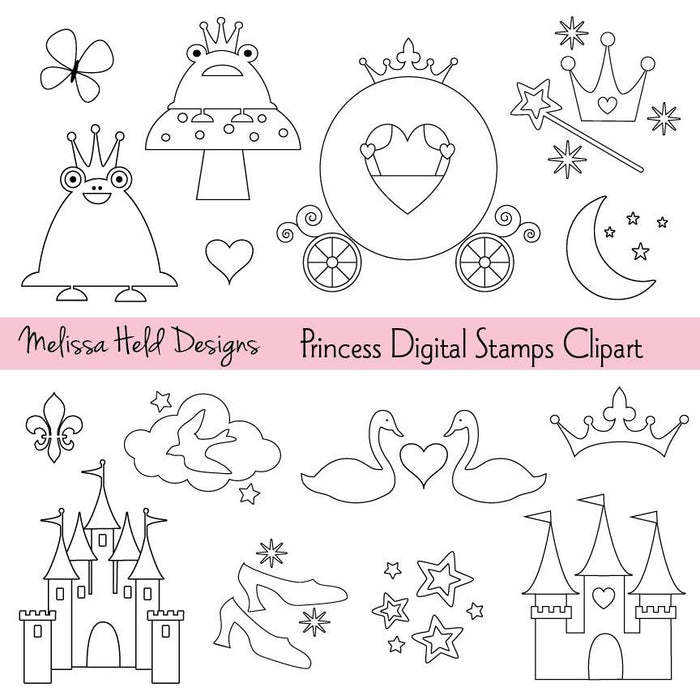 Princess Stamps Clipart Digital Stamps Melissa Held Designs    Mygrafico