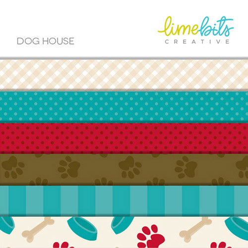 Dog House Digital Paper Pack  Lime Bits Creative    Mygrafico