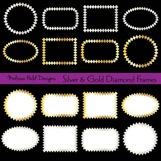 Silver & Gold Diamond Frames Cliparts Melissa Held Designs    Mygrafico