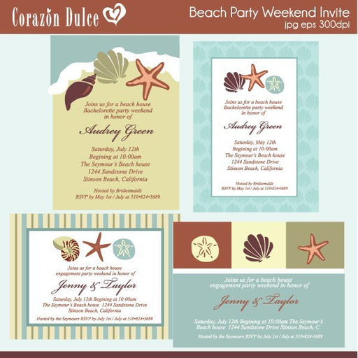 Beach Party Invites  Corazón Dulce    Mygrafico