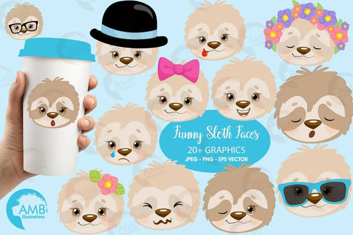Sleepy sloth faces clipart, emoji faces, sloth emoji clipart, emojis for scrapbooking, animal emojis, commercial use, AMB-2203 Cliparts AMBillustrations    Mygrafico
