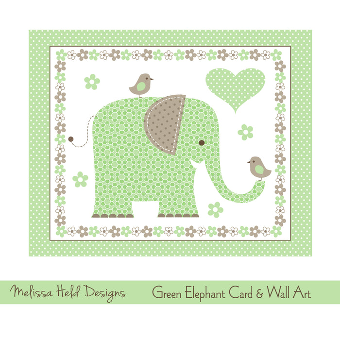 Green Elephant Card and Wall Art Digital Paper & Backgrounds Melissa Held Designs    Mygrafico